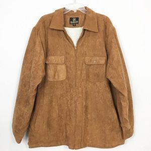 MENS: Faux Suede Shearling Zip Shirt Jacket